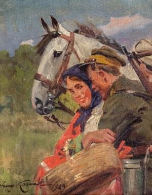 Jerzy Kossak (1886 Kraków - 1955 tamże), Zaloty, 1929 r.