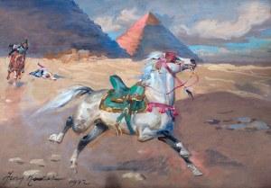 Jerzy Kossak (1886 Kraków - 1955 tamże), Ucieczka bachmata arabskiego przez pustynię, 1942 r.