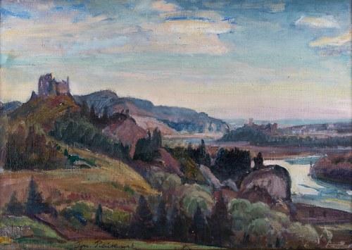 Ignacy Pieńkowski (1877 Dołubów - 1948 Kraków), Pejzaż z zamkami Czorsztyn i Niedzica