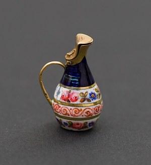 Złota, miniaturowa zawieszka w formie dzbana, Francja lub Rosja, II poł. XIX w.