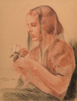 I. FABIAŃSKI (XX w.), Kobieta z różą, 1933