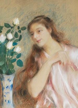 Teodor AXENTOWICZ (1859-1938), Dziewczyna z różami