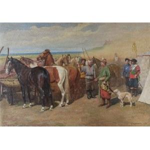 Antoni PIOTROWSKI (1853-1924), Pan referendarz kupuje konie, 1918