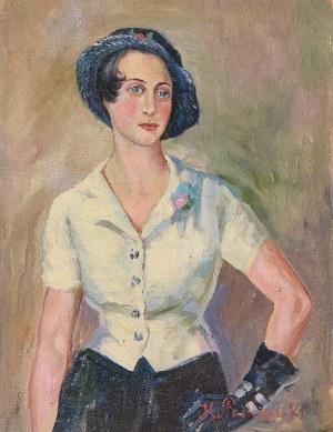 Kazimierz POCHWALSKI (1855-1940), Portret kobiety w kapeluszu