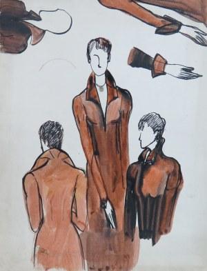 Ludwik Antoni Maciąg (1920-2007), Kobieta w kostiumie historycznym - szkice półpostaci, rąk