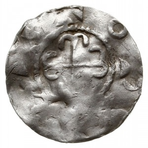 denar typu kolońskiego z pocz. XI w., Aw: Krzyż z ramio...