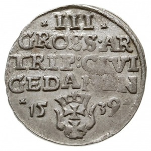 trojak 1539, Gdańsk, na rewersie rozetki, Iger G.39.1k ...