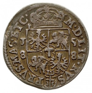 trojak 1588, Olkusz, na rewersie tarcza czteropolowa, I...