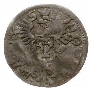 grosz 1650, Wschowa, Aw: Orzeł z tarczą z herbem Wazów ...