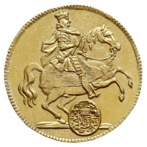 dukat wikariacki 1711, Drezno, Aw: Król na koniu, Rw: D...