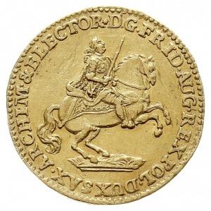 dukat wikariacki 1742, Drezno, Aw: Król na koniu i napi...
