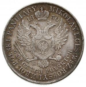 5 złotych 1830, Warszawa, odmiana z literami K-G, Plage...
