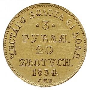 3 ruble = 20 złotych 1834 П-Д / СПБ, Petersburg, złoto ...