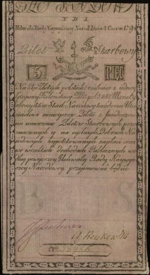 5 złotych polskich 8.06.1794, seria N.D.1, numeracja 38...