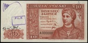 10 złotych 15.08.1939, seria A numeracja 000000, jednos...