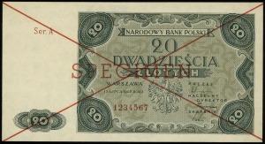 20 złotych 15.07.1947, seria A, numeracja 1234567, dwuk...