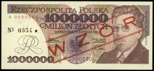 1.000.000 złotych 15.02.1991, seria A, numeracja 000000...