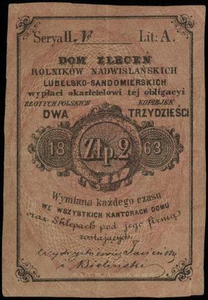 bon na 2 złote = 30 kopiejek 1863, serya II z literą A,...