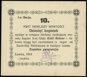 Łowicz, Emil Balcer - kupiec II-ej Gildy, 10, 20 i 50 k...