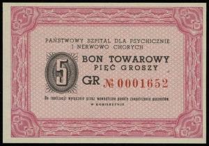 Kobierzyn, 5, 20 i 50 groszy (1957?), numeracje: 000165...