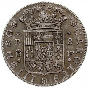 8 reali 1762 JP, Madryt, Dav. 1699, Cayon 11904, srebro...