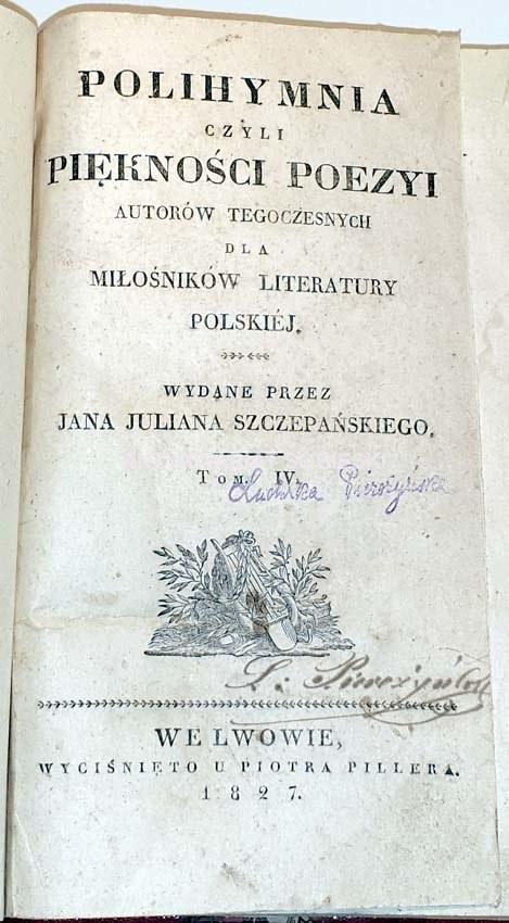 Szczepański Polihymnia T 1 6 Lwów 1827 1828 Pierwodruk Ody Do Młodości Adama Mickiewicza