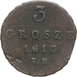 Księstwo Warszawskie, Fryderyk August I, 3 grosze 1813 IB, Warszawa.