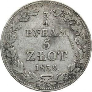 Zabór Rosyjski, Mikołaj I 1825-1855, 3/4 rubla/5 złotych 1839, Warszawa.