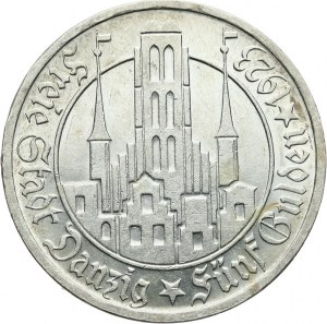 Wolne Miasto Gdańsk 1920-1939, 5 guldenów 1923, Utrecht; Kościół Marii Panny