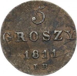 Księstwo Warszawskie, Fryderyk August I, 5 groszy 1811 IB, Warszawa
