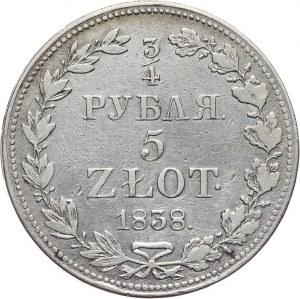 Zabór Rosyjski, Mikołaj I 1825-1855, 5 złotych - 3/4 rubla 1838 MW, Warszawa