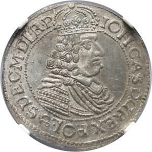 Polska, Jan II Kazimierz Waza 1649-1668, ort 1664, Toruń NGC MS63, RZADKI i PIĘKNY