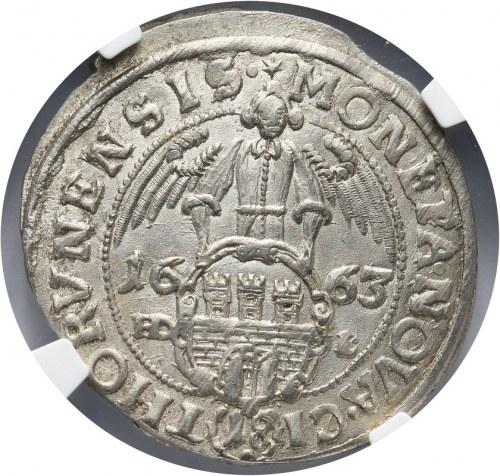 Polska, Jan II Kazimierz Waza 1649-1668, ort 1663, Toruń NGC MS64, popiersie z Orderem św. Ducha,R5