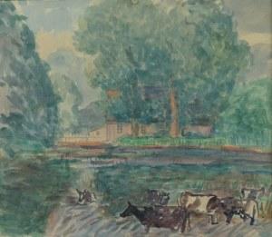 Leonard PĘKALSKI (1896-1944), Pejzaż z krowami