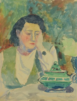Leonard PĘKALSKI (1896-1944), Portret p. Wandy z zielonym czajnikiem