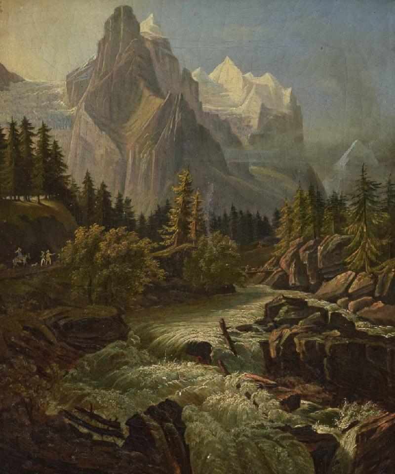 Malarz nieokreślony, Pejzaż górski z rwąca rzeką