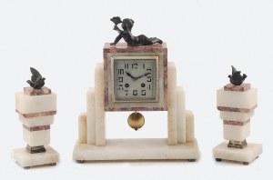 Zegar gabinetowy, art déco z dzieckiem i gołębiami