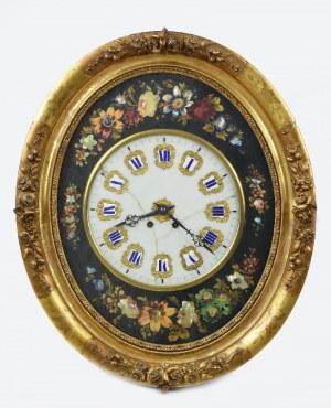 Zegar wiszący z inkrustowanymi kwiatami