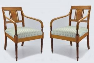 Para foteli w stylu biedermeier z intarsjowaną kobiecą postacią