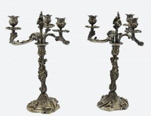 Para kandelabrów trzyświecowych w manierze rokoko