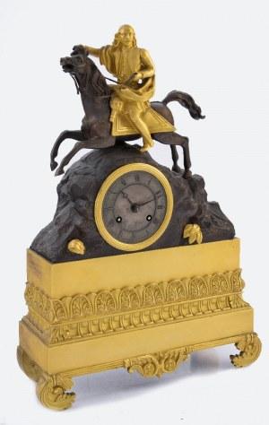 Zegar kominkowy z jeźdźcem na pędzącym koniu
