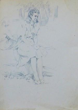 Ludwik Antoni Maciąg (1920-2007), Słoneczny dzień - młode kobiety siedzące przed domostwem