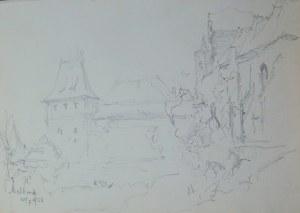 Józef Pieniążek (1888-1953), Widok na zamek krzyżacki w Malborku, 1950