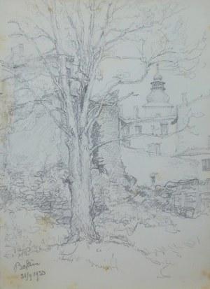 Józef Pieniążek (1888-1953), Motyw z Będzina z wieżą kościoła Św. Trójcy w dali, 1950