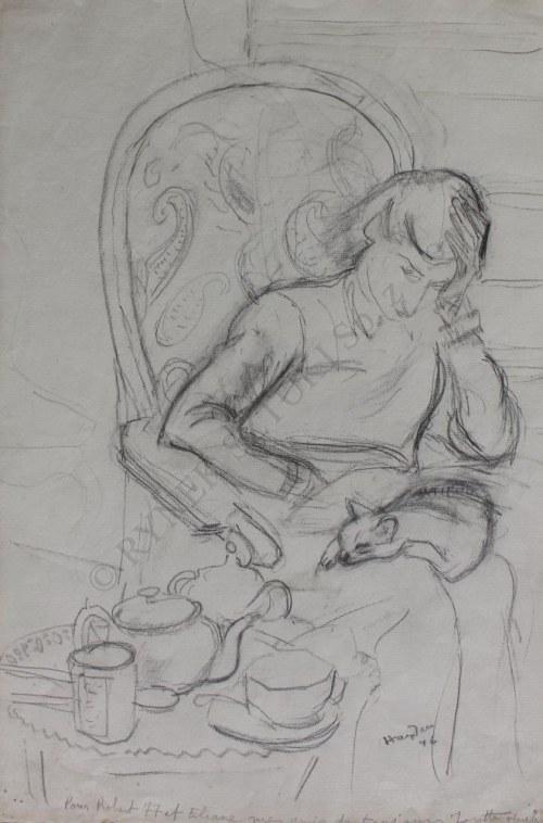 Henryk Hayden (1883-1970), Kobieta z kotem na kolanach (1946)