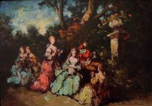 Adolf Monticelli (1824-1886), Scena dworska w parku