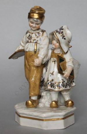 Figurka-Dzieci z koszem, (Rudolstadt-Volkstedt, pocz.XX w.)