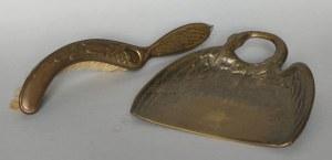 Secesyjna zmiotka i szufelka z motywem żurawia, (pocz.XX w.)