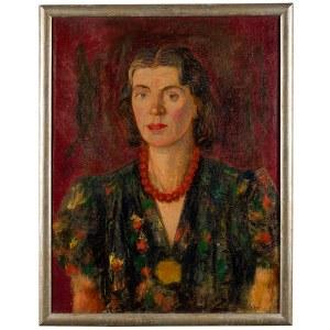 Edward Kokoszko (1900 Izdebno k.Grodziska Maz. - 1962 Warszawa), Portret kobiety w czerwonych koralach