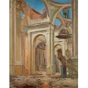 Wawrzyniec Chorembalski (1888 Zawichost - 1965 Warszawa), Wnętrze kościoła Wszystkich Świętych przy pl.Grzybowskim tuż po wojnie, 1945 r